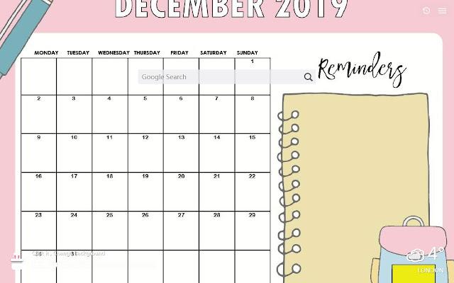 2019年12月カレンダーの新しいタブカスタマイズされた壁紙hd