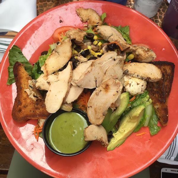 Grilled chicken salad with gluten free garlic bread!