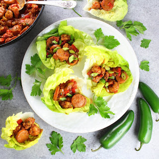 Andouille Sausage And Cajun Shrimp Lettuce Wraps.