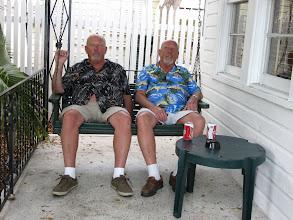 Photo: Enjoying the verandah and beer.