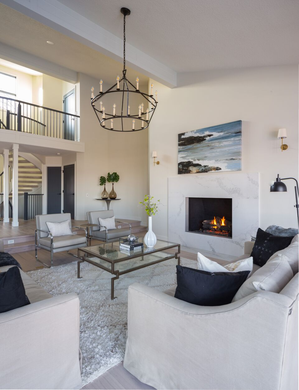NW Calgary modern traditional living room, fireplace, mixed seating, oversized chandelier