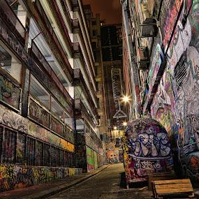 Graffiti Lane by Ewan Arnolda - City,  Street & Park  Street Scenes ( exposure, lights, abstract, melbourne, graffiti, australia, art, night, long, city, lane )