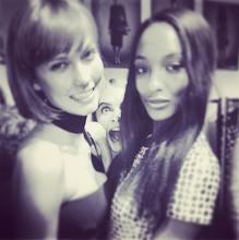 Photo: LFW - Karlie Kloss and Jourdan Dunn backstage at Burberry Fall 2013.  @karliekloss