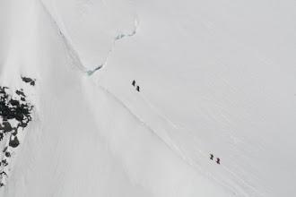 Photo: Almost at the bergschrund - photos taken from Robert Borius-Broek's jet trainer!