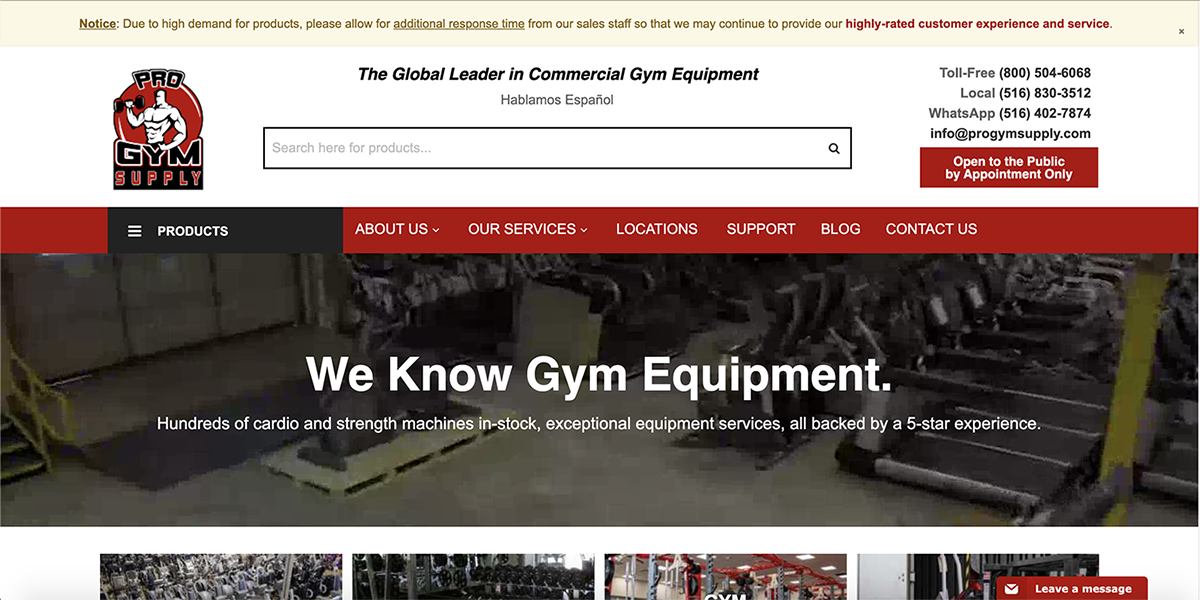 Pro Gym Supply Website Screenshot