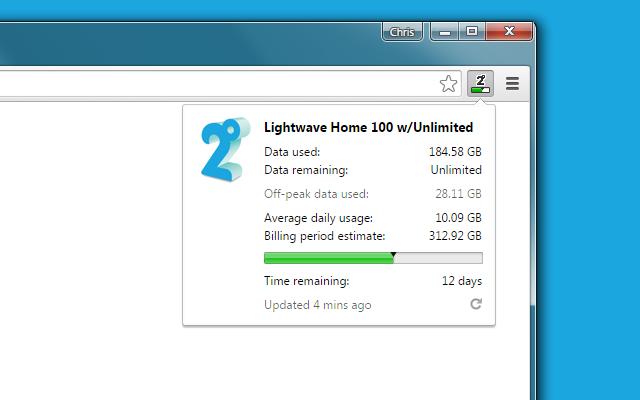2degrees Broadband Usage Monitor chrome extension