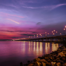 Twilight Hour by Adrian Choo - Buildings & Architecture Bridges & Suspended Structures ( sunrise, dawn, bridge, water, twilight, sea, colours )