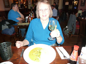 "Photo: Lorraine at George's Pub. After a couple of ""pub grub"" meals, we finally discovered the Indian restaurant district near our hotel."