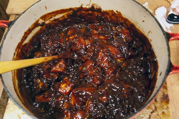 Stir the pork into the chile sauce, cover and place in the refrigerator, overnight.