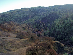 Photo: Cache Creek Wildlife Area, Redbud Trail. View of the spire of rock overlooking The Jams rapid.