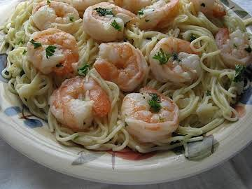 Blue Ribbon Garlic Shrimp Scampi and pasta.