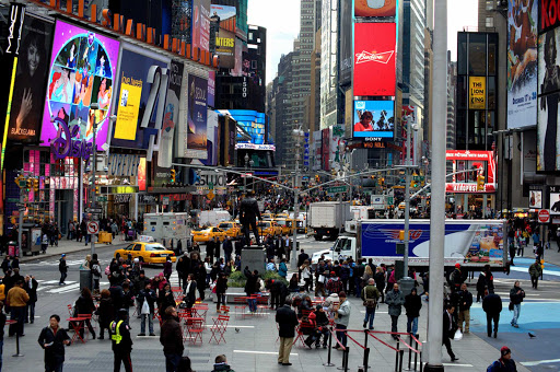 Broadway in midtown Manhattan is always bustling with visitors.