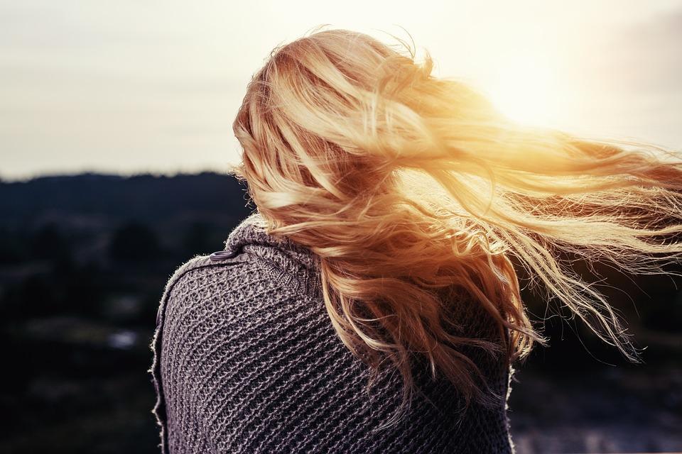 Girl, Hair, Blowing, Blonde, Woman, Behind, Back, Wind