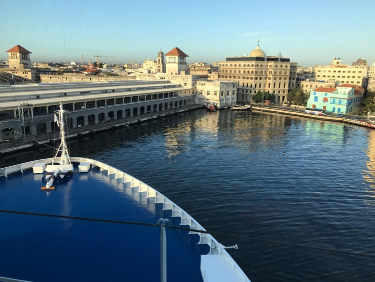 Oceania Cruises' Marina makes her final approach to the Sierra Maestra cruise terminal in Havana.