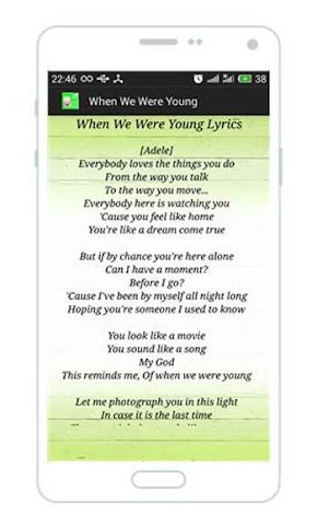 android When We Were Young Lyrics Screenshot 1