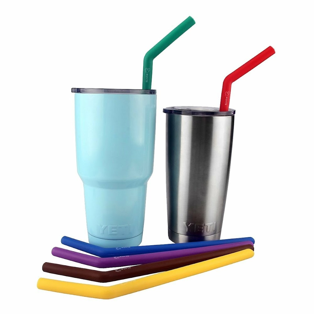 Reuseable silicone straw set