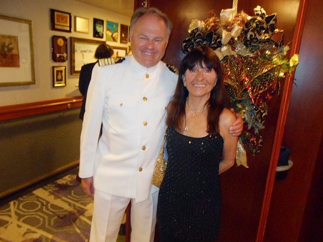 Master Captain Birger J. Vorland with the author on Crystal Serenity.