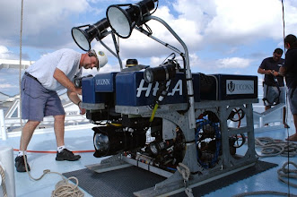 Photo: Preparing Hela ROV for launch on Cocos Expedition (Photo credit: P. Auster)