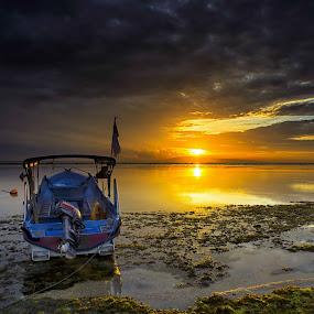 Boat and golden sunrise by Sam Moshavi - Transportation Boats ( sanur, boats, beach, sunrise )