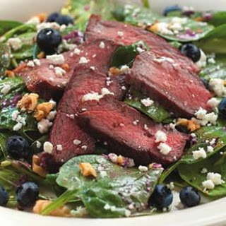 Spinach Salad with Steak & Blueberries