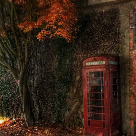 Time forgotten  by Sarah Ivanhoe - Artistic Objects Other Objects ( autum, city, vintage, night, phone booth )