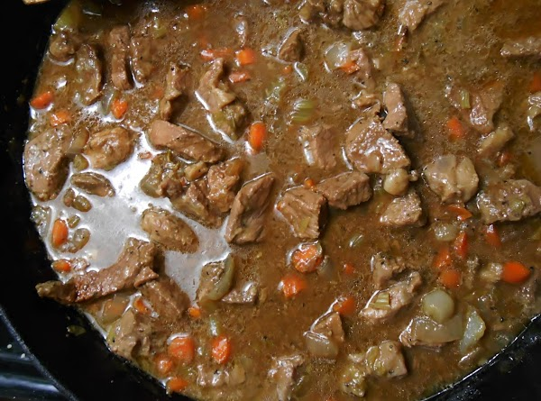 Remove from oven, add peas and mushrooms if desired, stir in with meat, add...