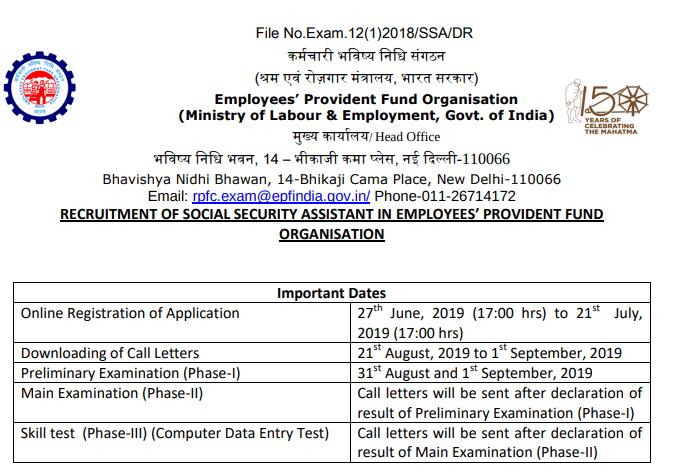 EPFO SSA Recruitment 2019 - 2189 Post - Apply Online, Exam Date, Salary, Syllabus