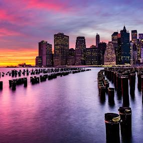 New York Sunset by John Sinclair - City,  Street & Park  Vistas ( water, manhattan skyline, sunset, new york, landscape,  )