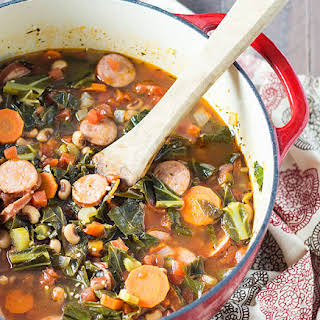 Black-Eyed Pea Soup with Collard Greens and Sausage.