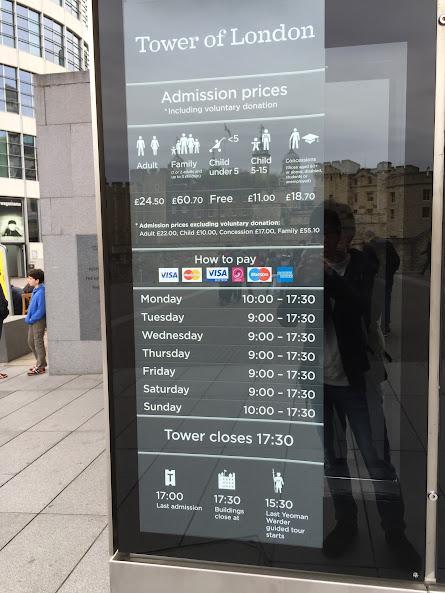 ロンドン塔 営業時間