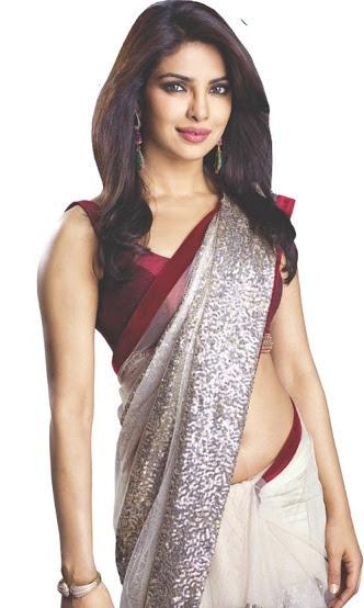 Priyanka Chopra navel in saree, Priyanka Chopra red blouse white saree