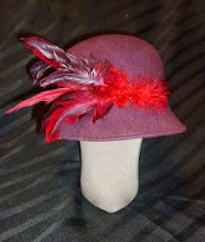 Photo: <KAPELUXE> Unique-Chique Hats by Luba Bilash ART & ADORNMENT  Plum wool felt cloche, suede, multifeathered, Size L - 56 cm/22 in SOLD