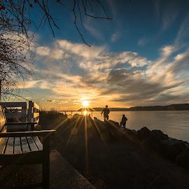 Day slipping away. by Dale Slater - City,  Street & Park  City Parks ( skyline, park, sunset, beach, waterfront )