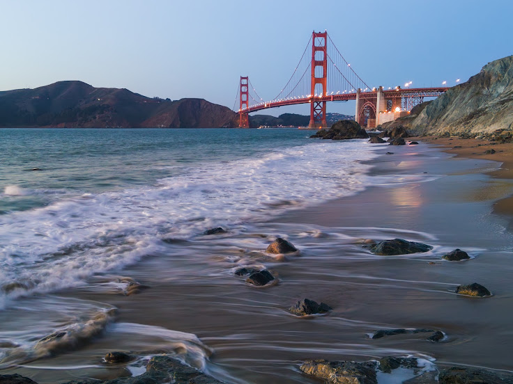 The Golden Gate Bridge from Marshall's Beach.
