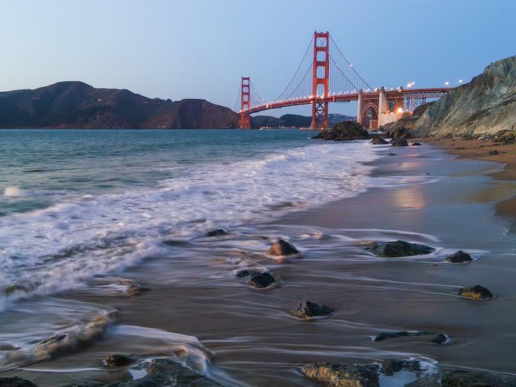 The Golden Gate Bridge from Marshall's Beach.