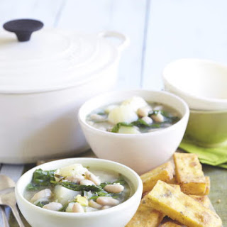 White Bean and Spinach Soup with Polenta Wedges