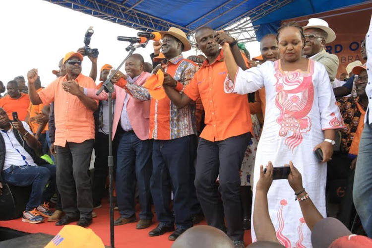 James Orengo,Maina Kamanda,Raila Odinga and Anne Waiguru drummed up support for ODM candidate during his final rally