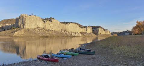 Photo: Friday morning at Eagle Creek Campsite - 4 kayaks and 1 canoe