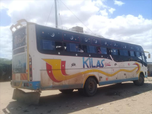 The Kilas bus which was ambushed by al Shabaab fighters while on its way to Garissa on Friday, September 14, 2018. /STEPHEN ASTARIKO