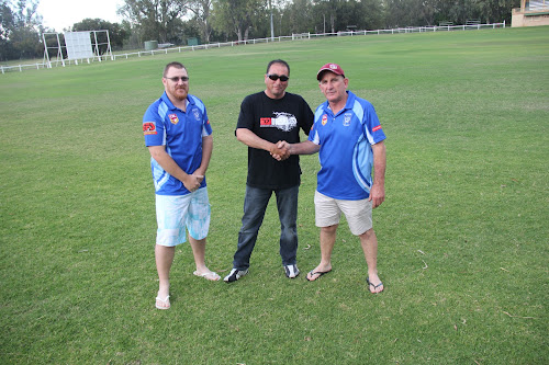 Narrabri Blues league tag coach Jeremey Saunders and reserve grade coach Frank Capewell with club president Michael Gleeson.