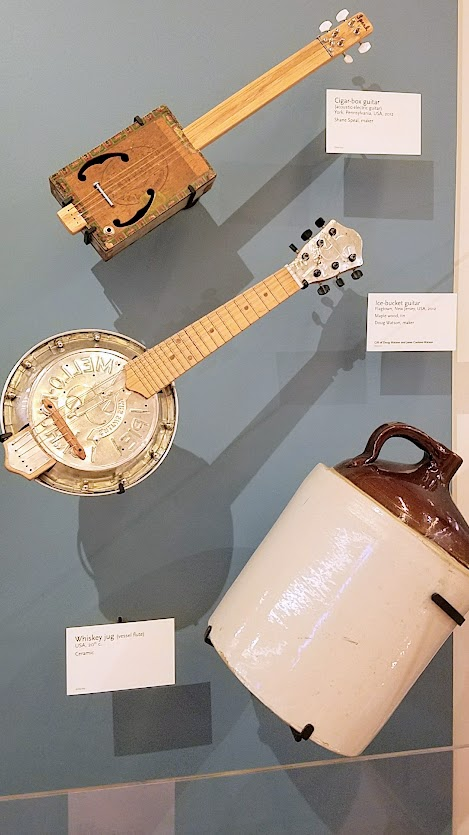 Music Instrument Museum (MIM) Geographic galleries, creativity in creating instruments from whatever materials were available, even from literal objects lying around and even what would be garbage: cigar boxes, ice buckets, whiskey jugs