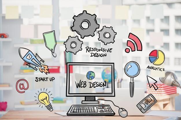 Concept de conception Web avec des dessins Photo gratuit