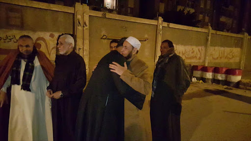 Sheikh Bassiouni at the time of release from the police station in Egypt...
