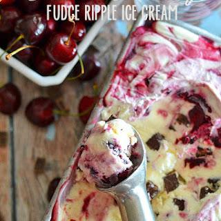 Black Cherry Fudge Ripple Ice Cream.