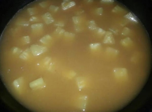 Add 3 tbsp of cornstarch to drippings and whisk till blended.... slowly add pineapple-orange...