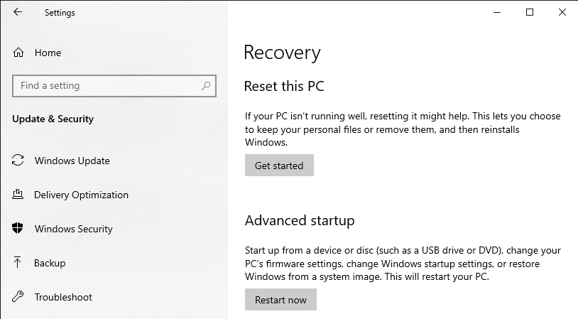 The Recovery settings containing the Reset this PC option in the Windows Settings