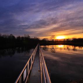 Stinkteich  by Franz  Adolf - Landscapes Sunsets & Sunrises ( nature, sunset, lake, pond )