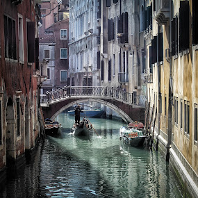 Venice Sidestreets by Victor Harris - City,  Street & Park  Historic Districts ( punting, gondola, venice, architecture, bridge, boat, canal, italy )