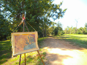 Photo: Replica of 1822 Texas map, El Camino swale, Caddo Mounds site 10/25/14