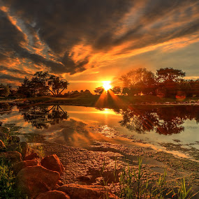 Down low by Casey Mitchell - Landscapes Sunsets & Sunrises ( ponds, dawn, sunsets, sunset, lakes, lake, pond,  )
